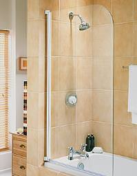 Aqualux Aqua 3 Half Framed Radius Bath Screen White - FS6450AQU