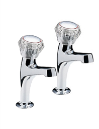 Tre Mercati Special Economy Pair Of High Neck Pillar Taps Chrome - 356