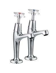 Bristan 5412 Value Cross Top High Neck Pillar Taps  - VAX HNK C
