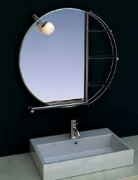 April Sanda Illuminated Round Mirror With Shelves 790mm Wide - 7235