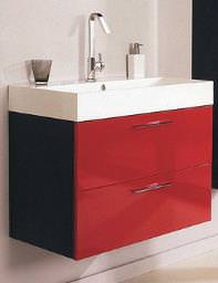 Hudson Reed Red And Black Contrast Basin And Cabinet - RF012