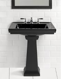 Imperial Astoria Deco Black 640mm Tall Large Basin With Tall Pedestal