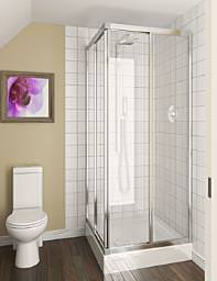 Aqualux Aqua 4 Telescopic Corner Entry Enclosure Silver Clear Glass
