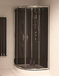 Aqualux Slot And Lock Quadrant Enclosure 900mm With Black Glass Panels