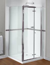 Aqualux Shine Xtra Bi-Fold Door 900mm Polished Silver - FEN1001AQU