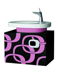 Laufen Mimo 650 x 450mm Vanity Unit - Black With Pink Graphics