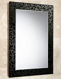 HIB Flora Rectangular Bevelled Mirror On Black Glass Patterned Frame