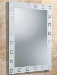 HIB Mae Square Patterned Rectangular Mirror With Screen Printed Border