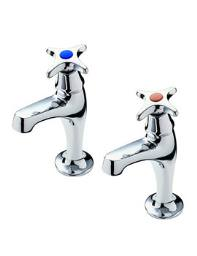 Tre Mercati Capri Crosshead High Neck Pillar Taps Pair - 343