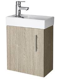 Lauren Minimalist Compact Light Oak Wall Hung Cabinet And Basin 400mm