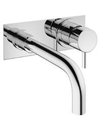Crosswater Mike Pro 2 Hole Wall Mounted Chrome Basin Mixer Tap With Plate